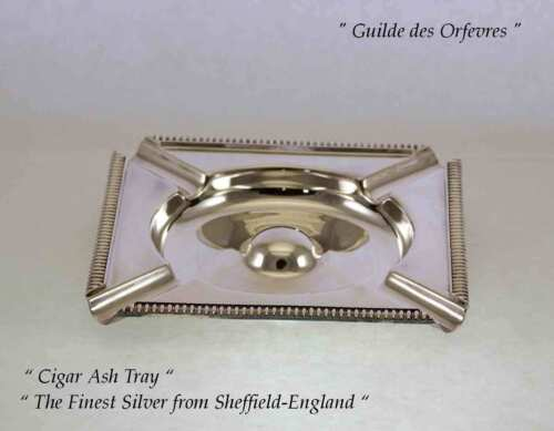 Silver Cigar Ash Tray, Square with Gardroon Mount