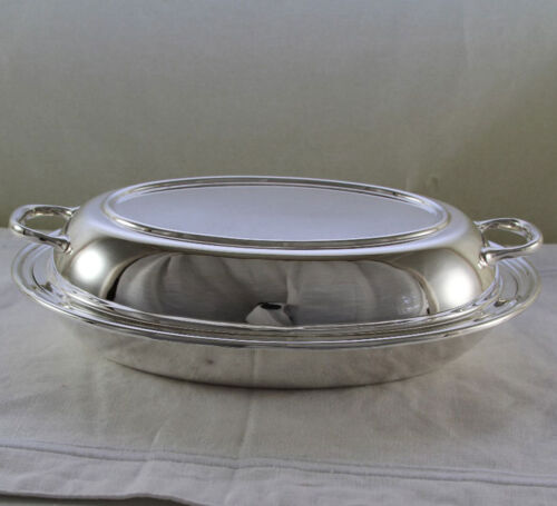 Silver Oval Entree Dish & Cover, Plain Mount