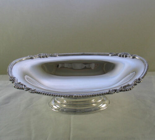 Silver Oval Fruit Dish with Gadroon & Shell Applied Border