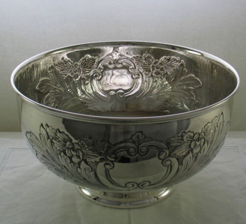 Silver Punch Bowl, Beautifully Hand Chased