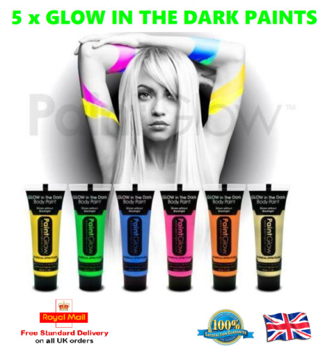 5 x GLOW IN THE DARK Neon Face & Body Paint 10ml SET of 5 Face Paint Party Night