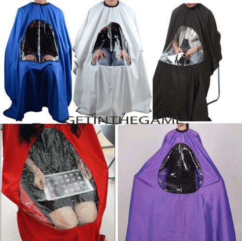Hair Cutting Cape Salon Hairdressing Hairdresser VIEWING WINDOW Barber Cloth  <br/> Free Shipping* Perfect for Viewing Phone Book Tablet