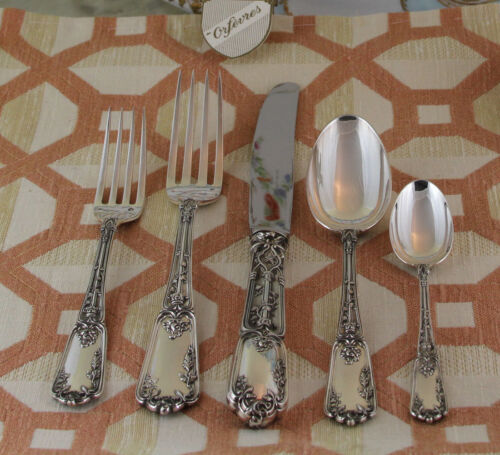 Sterling Silver Flatware 5-pc Place-Setting, 95- Chenonceaux-Wonderful Gothic