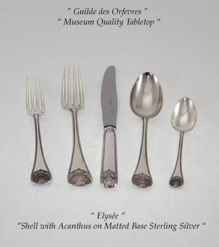 Sterling Flatware 5-pc Place-Setting, Elysée-Wonderful Shell  on Matted Base