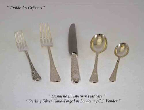 Sterling Silver Flatware 5-pc Place-Setting, Elizabethan-Hand-Forged
