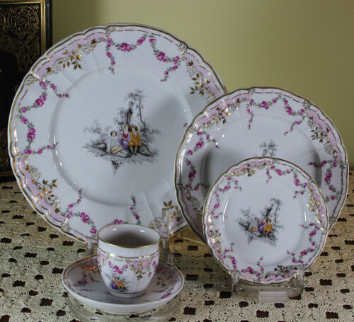 Limited Edition 1/20 Hand-Painted 5-piece Place-Setting  after Watteau