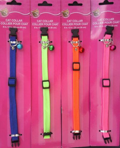 CAT COLLARS NEON SPANDEX QUICK-RELEASE BUCKLE ADJUSTABLE BELL, SELECT: Color