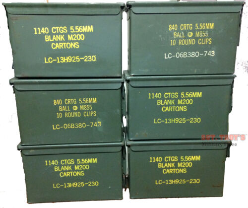 6 PACK .50 CALIBER 5.56mm AMMO CAN M2A1 50CAL METAL AMMO CAN BOX VGCBoxes & Chests - 165616