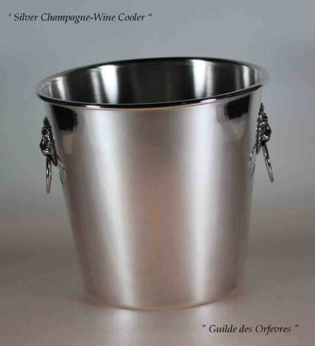 Silver Champagne/Wine Cooler with Lions Mask Handles
