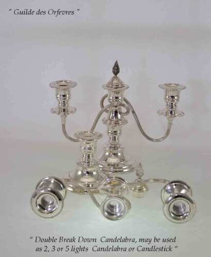 Silver Candelabra, Plain 3 Light  8  in.