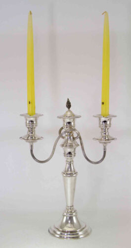 Silver Candelabra, 3 Light Plain 14  in.