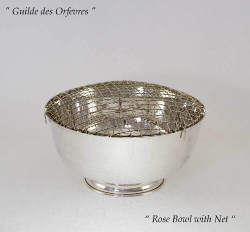 Silver Rose Bowl with Net, Old English, Plain 8  in.