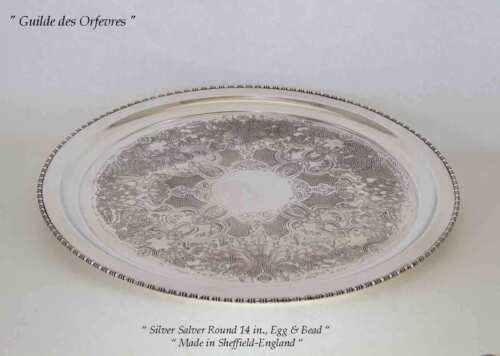 Silver Salver Round  14 in., Egg & Bead, Embossed