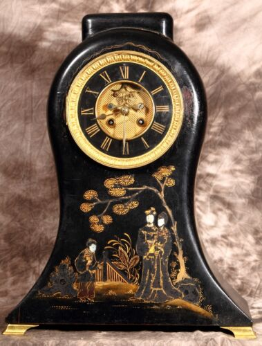Unusual Antique French Chinoiserie Open Escapement Mantel Clock by Mougin 19 C