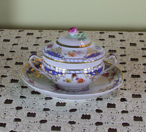 Collector's Cream Soup Cup, Lid & Saucer, Historic Pattern