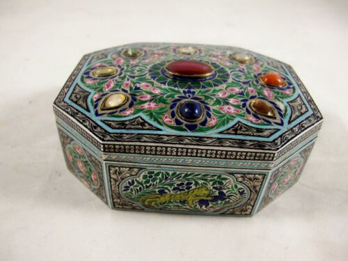 19th CENTURY INDIAN SILVER & ENAMELLED BOX WITH 9 STONES C 1870'S