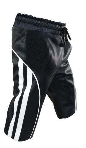 MENS CARGO SHORTS GENUINE REAL BLACK LEATHER