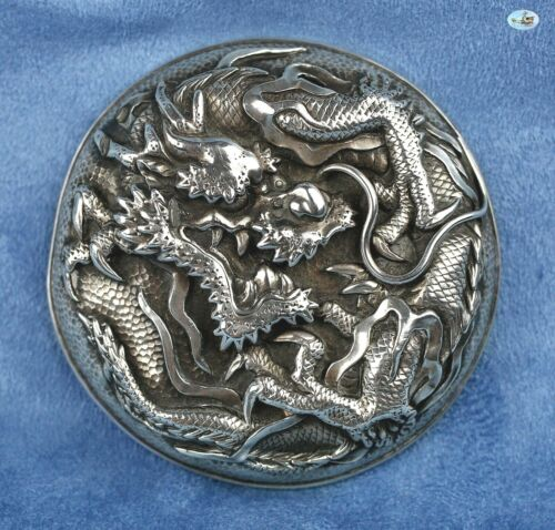 Vintage Asian Chinese Silver Top Cover with Dragons and Claws - C. 1900