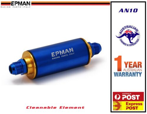 epman racing inliine fuel filter an10 100 micron 044 ls1 lsx drag hq vz -  blue