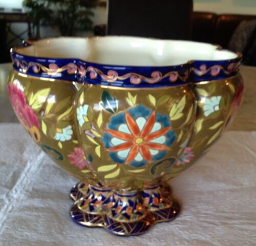 "Fischer Budapest Center Bowl, 8.5""h, 10 1/4"" d, magnificent enamel, gold inlay"