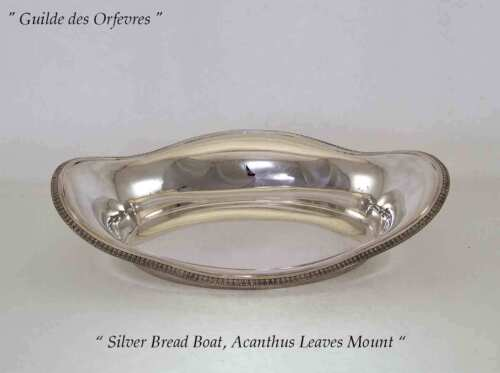 Silver Bread Boat with Acanthus Leaves Applied Border