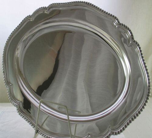 Silver Shaped Oval Platter 23 in.with Running Gadroon Applied Border
