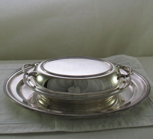 Entree Dish & Cover and Oval Platter 14 in. with Bead Pattern, Applied Border