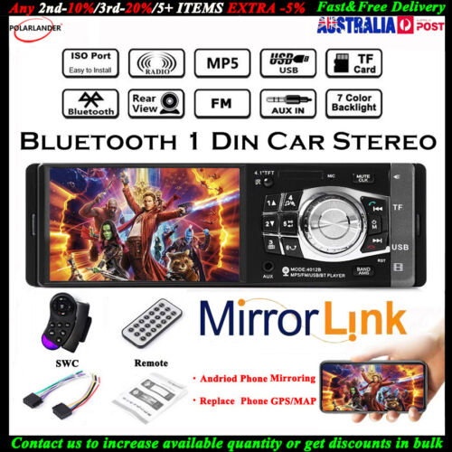 4.1'' Single 1 Din Car MP5 MP3 Player Wheel Control Stereo FM Radio TF Bluetooth