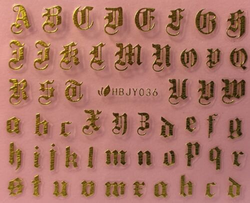 Nail Art 3D Decal Stickers Alphabet Letters Gold HBJY036