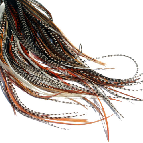 20 LONG NATURAL FEATHER HAIR EXTENSIONS KIT: RINGS INCLUDED (B GRADE)