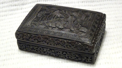 ANTIQUE 18c CHINESE BROWN CINNABAR COVERED BOX RELIEF CARVED W/3 FIGURES