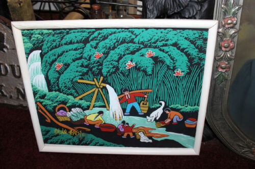 Stunning Chinese Japanese Painting Paper-Fishing Water Colorful-Signed Stamped