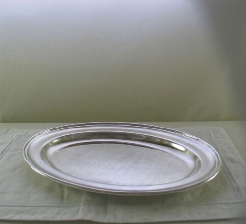 Silver Oval Platter 14 in. with Plain Applied Mount