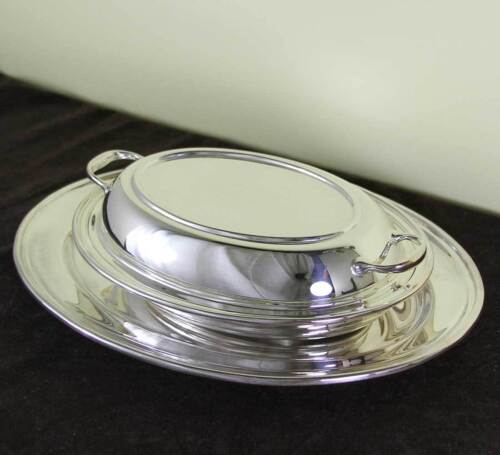 Silver Oval Platter 14 & Oval Entree Dish & Cover with Plain Applied Mount