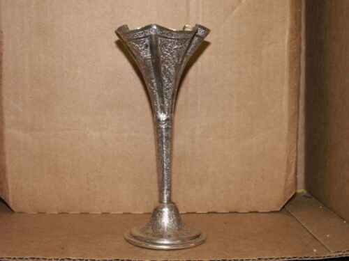 ANTIQUE PERSIAN ANGLO INDIAN  FLUTED HAND CHASED STERLING SILVER VASE