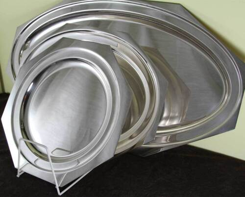 Silver Set of 3 Octagonal Platters 14, 18 & 29 in. Raw Edge