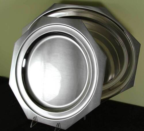 Silver Octagonal Platters 14, 18 in. Raw Edge
