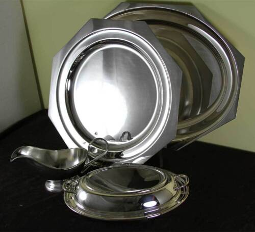 Silver Set Octagonal Platters 14, 18 in. Entree Dish & Cover, Gravy Boat