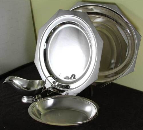 Silver Set of 4 pc. Octagonal Platters 14, 18 in., Bread Boat, Gravy Boat