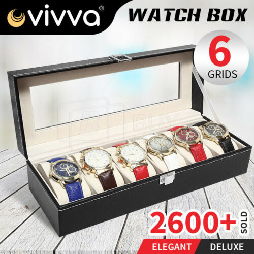 6 Grids Leather Watch Display Case Jewelry Collection Storage Holder Box Gift OZ