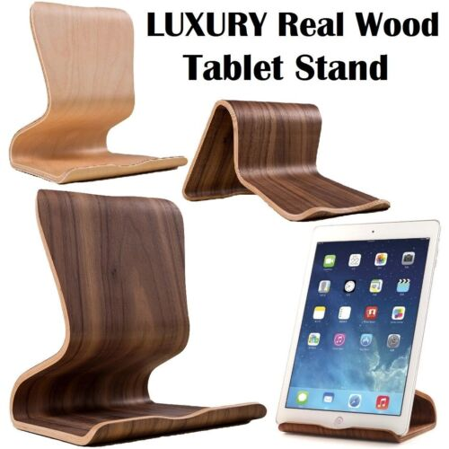 Universal Desktop Real Wood Stand Mount Holder For Apple iPad Samsung Tab 13""