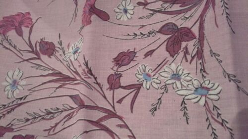 vintage fabric pillowcase pair cotton floral flower sprays quilting craft A