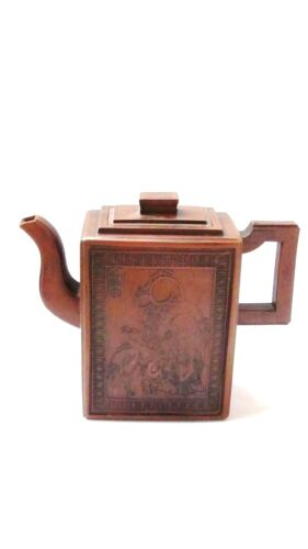 ANTIQUE 19c CHINESE YIXING RELIEF IMMORTAL AND CRANE TEAPOT ,MARKED