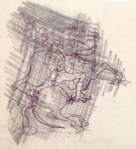 Julian Ritter - Man On Horse 2 - Charcoal Vellum For Tracing - Un-signed - 171