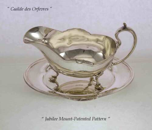 Silver Sauce/Gravy Boat & Tray with Jubilee, Patented Applied Border