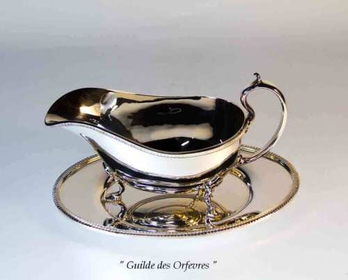 Silver Sauce/Gravy Boat with French Gadroon, Applied Border