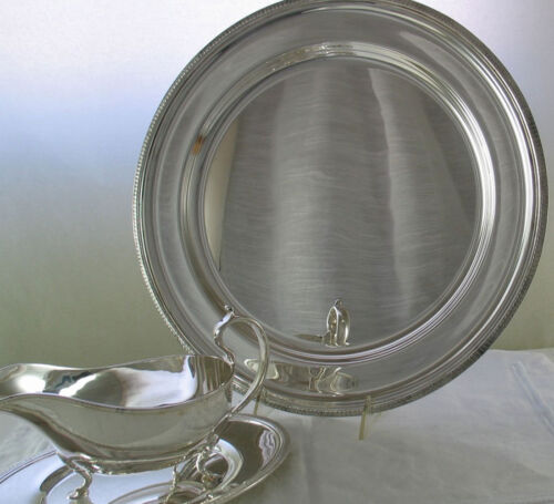 Silver Round Platter 16 in. and Sauce/Gravy Boat with Gadroon, Applied Border