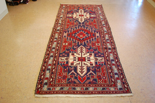 c1930s ANTIQUE HAPPY DETAILED CAUCASIAN SOUMAK KILIM 3.7x9.2 SO MUCH DETAILS
