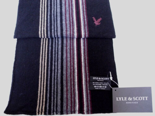 Lyle and & Scott mens black wool winter scarf grey burgundy striped NEW stripy