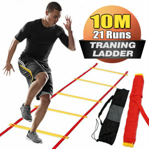 Agility Speed Sport Trainning Ladder 10M-Soccer Fitness Boxing 21 Rungs With Bag